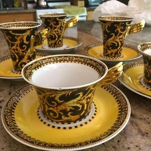 Versace Rosenthal Barocco Tea Cups Saucers 10pc